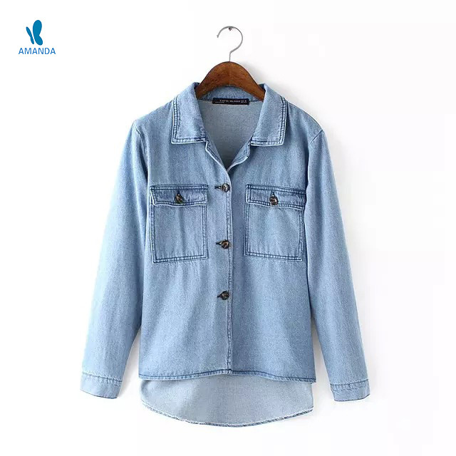 Fashion long sleeve women denim Shirts blouse big pocket Casual ladies denim Jeans shirts summer autumn women jeans denim shirts