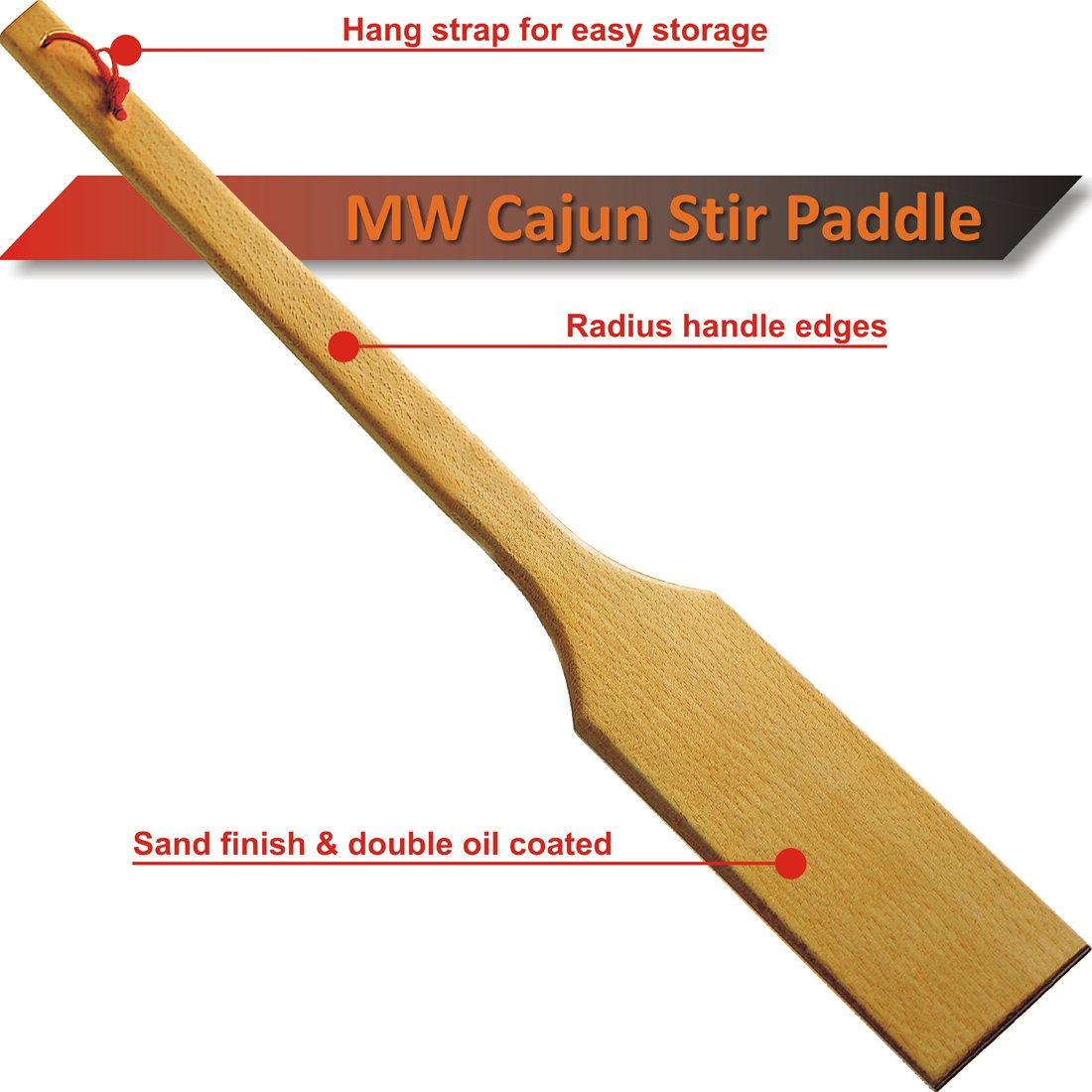 MW Cajun Stir Paddle | Crawfish Boil Paddle | Sand Finished | Double Linseed Oil Finish | Hard Beech | 32 Inch
