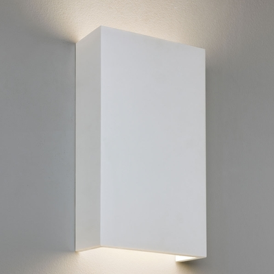 VERTICAL RECTANGULAR WHITE PLASTER LED WALL LIGHT