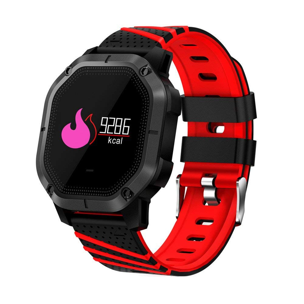 MIYA Fitness Tracker IP68 Waterproof Swimming Wristband Smart Heart Rate Blood Pressure Monitor with Color Screen Fitness Bracelet Multi-sport mode Wristband for Kids Women Men-Red