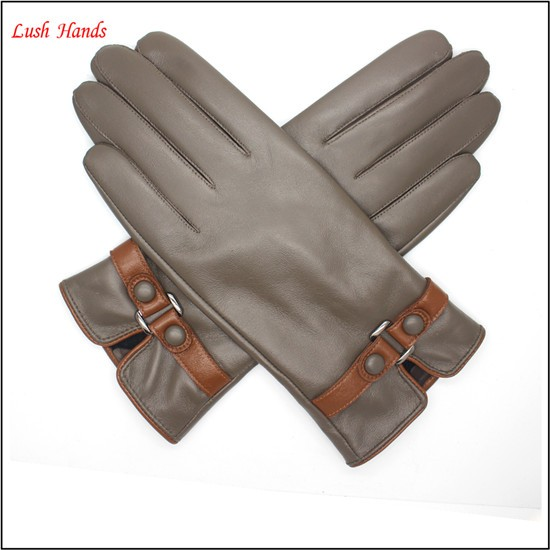ladies sheepskin leather hand gloves with belt driving leather gloves