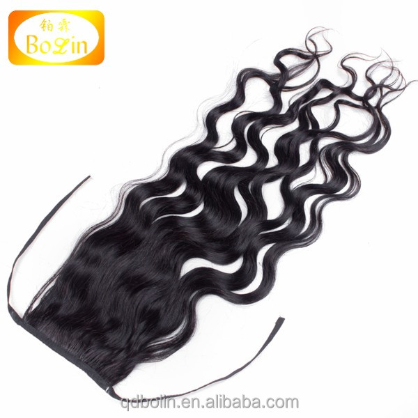 Hot!! latest human drawstring ponytail hair extension for black women 100% full cuticle virgin hair