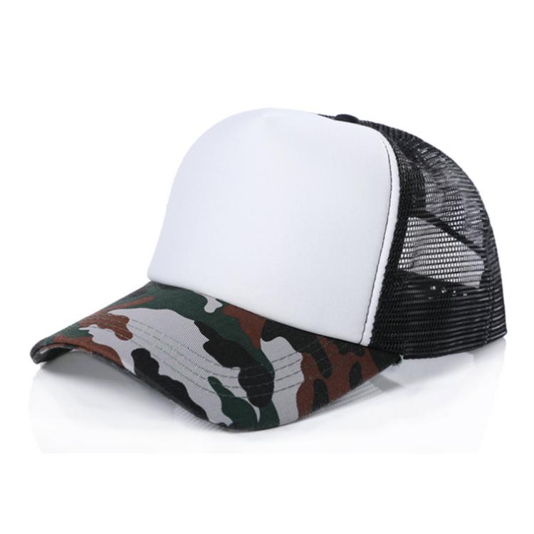 YUEXING Free Sample custom logo camo 5 panel blank  trucker cap mesh hat