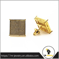 18K gold plated hip hop men screw back earrings