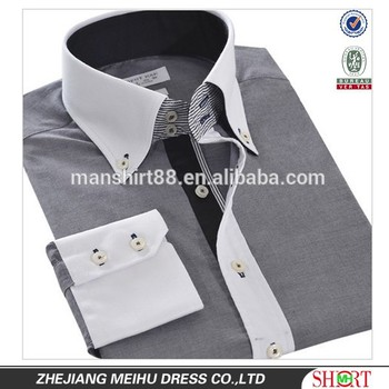 New Men 39 S Button Down Contrast Collar And Contrast Cuffs