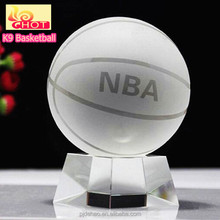 Home Decoration Ornament Sports Ball Crystal Glass Basketball