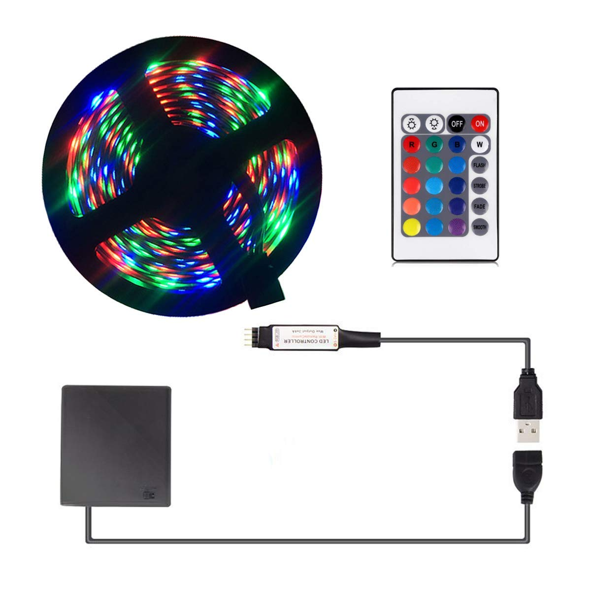 Battery Powered LED Strip Lights, USB LED Strip Lights, LED Strip Lights Battery Powered USB Operated 2 in 1, 5050 60 LEDs RGB 24keys-2M/6.6FT