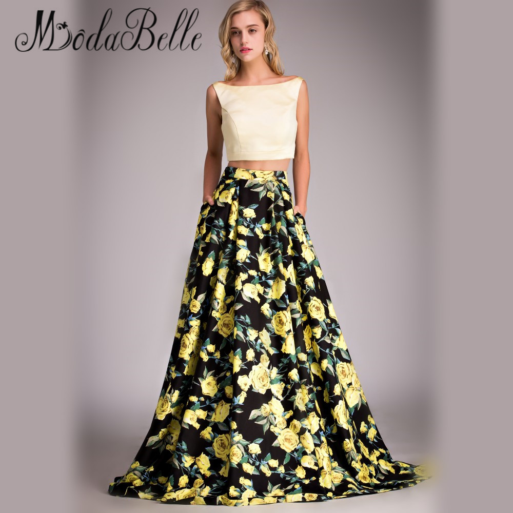 Real Picture Flower Print Fitted Prom Dress Yellow Black