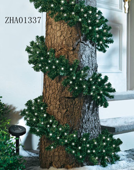 Christmas Greenery Artificial LED Fir Garland with Solar LEDs Lights