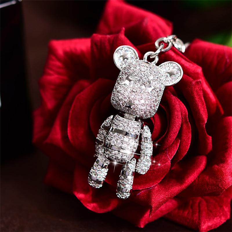 Platinum Plating Mrico Pave Setting Gloomy Bear Charm Keychain for Car <strong>Key</strong>