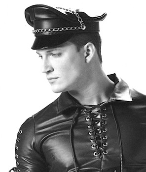 HMB-908E LEATHER BIKER HATS BLACK COLOR CAPTAIN CAP CHAINS STYLE BIKER WEAR c016348e021