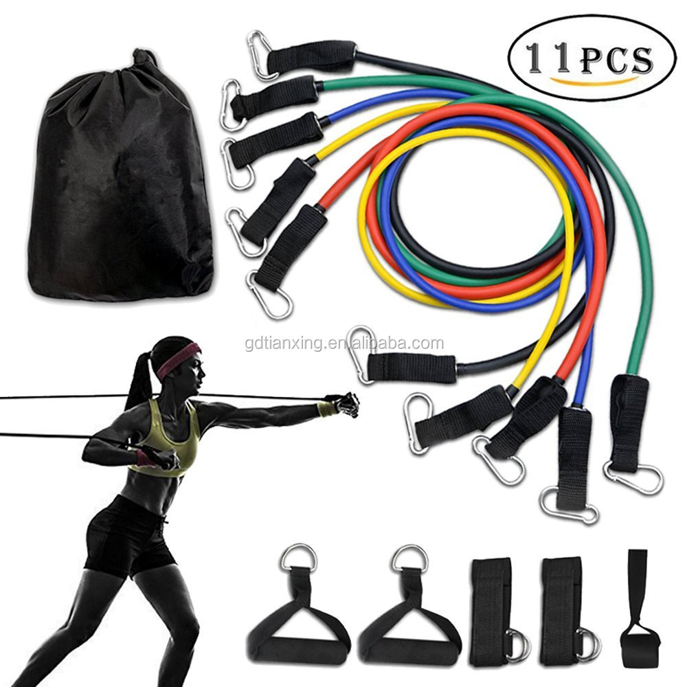 11pcs Resistance Band Set Anti-Snap Exercise Bands with Door Anchor Handles Ankle Straps Stackable 10 to 100lbs