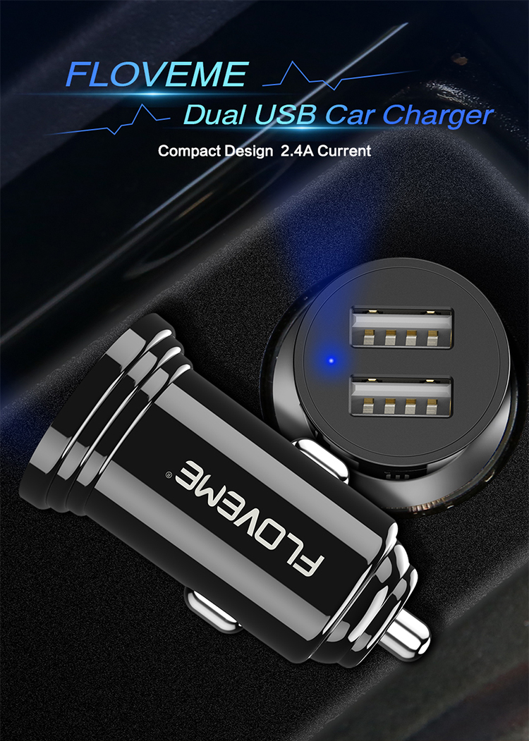 Free Shipping Universal Car USB Phone Charger FLOVEME 5V 2.4A Dual USB Car Charger