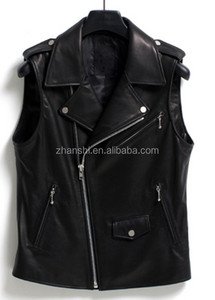 Wholesale Latest Men's PU Leather Biker Vest With Zipper From China