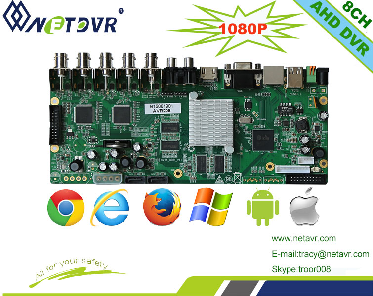 Good Quality 8ch Dvr Pcb Board 1080p Cctv Dvr Motherboard Ahd ...