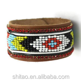 Nepal bead with Rhinestone Chain Cuff Leather Bracelet NP08