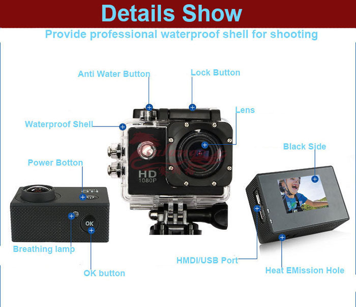 2015 Newest Digital Wide Angle Lens Waterproof Micro Video Camera Support 1080p Video Camera