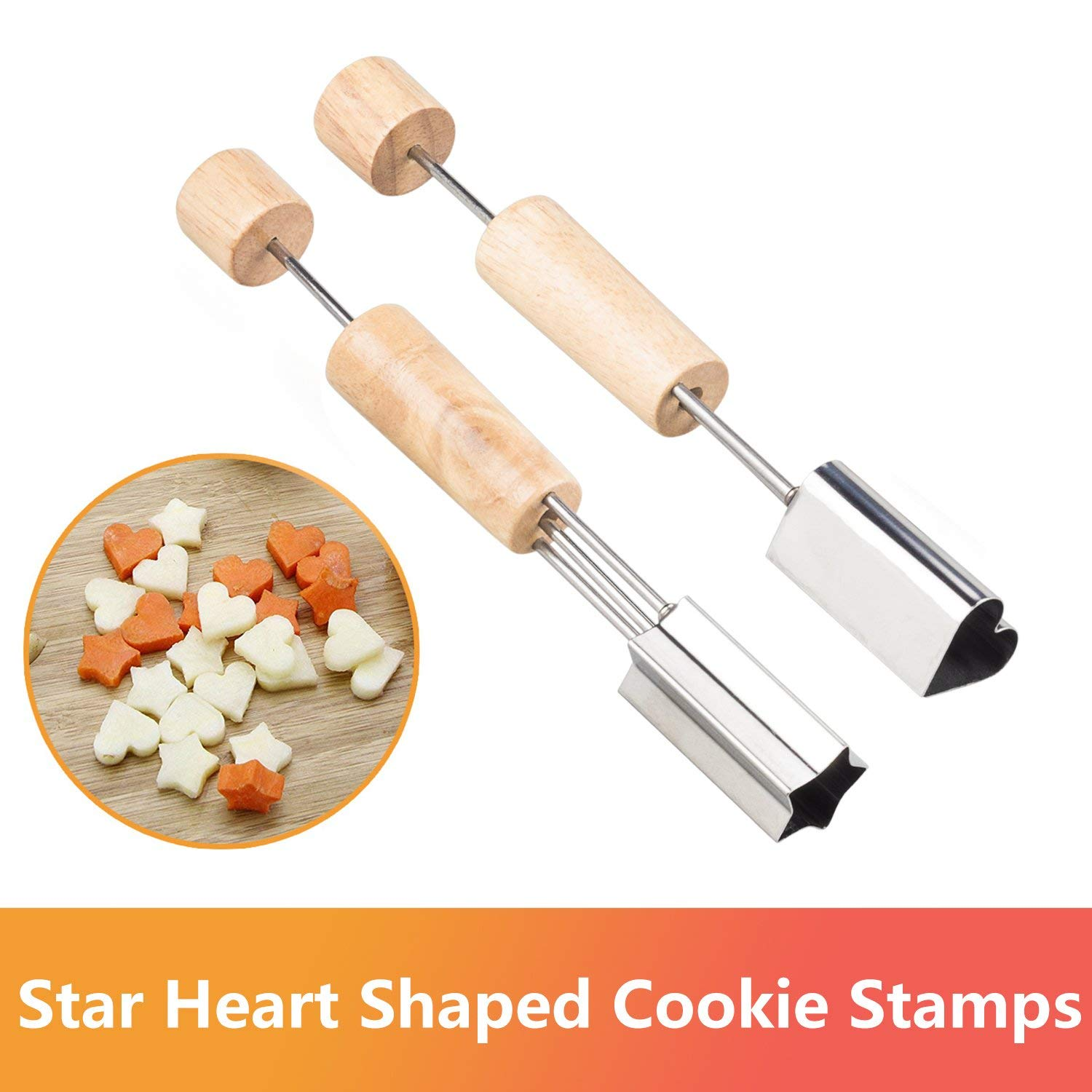 Mini Cookie Cutters Set – Vegetable Cutter Shapes/Cookie Biscuit Cutter Set,Vegetable Fruit Cookie Cutter Mold/Star Heart Shaped Wooden Handle Cutters