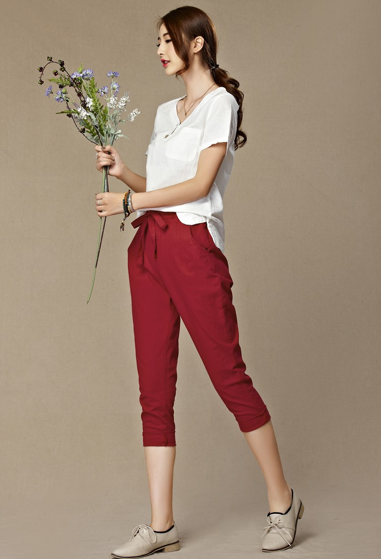Free Shipping Women Loose Original Design Vintage Linen Female Dazzling Female Drawstring Pants Pure Capris Harem Trousers