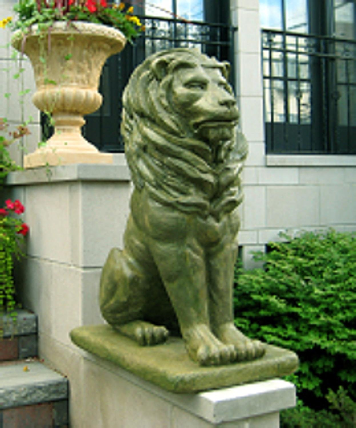 Get Quotations · Pack Of 2 Regal Sitting Lion Cast Stone Concrete Moss  Finish Outdoor Garden Statues