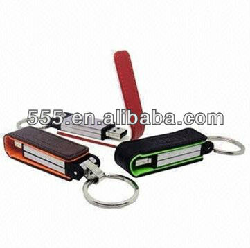 High quality leather usb flash drive with big keyring, 1GB--32GB, various color for option