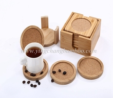 Bamboo cork coffee coaster with holder set