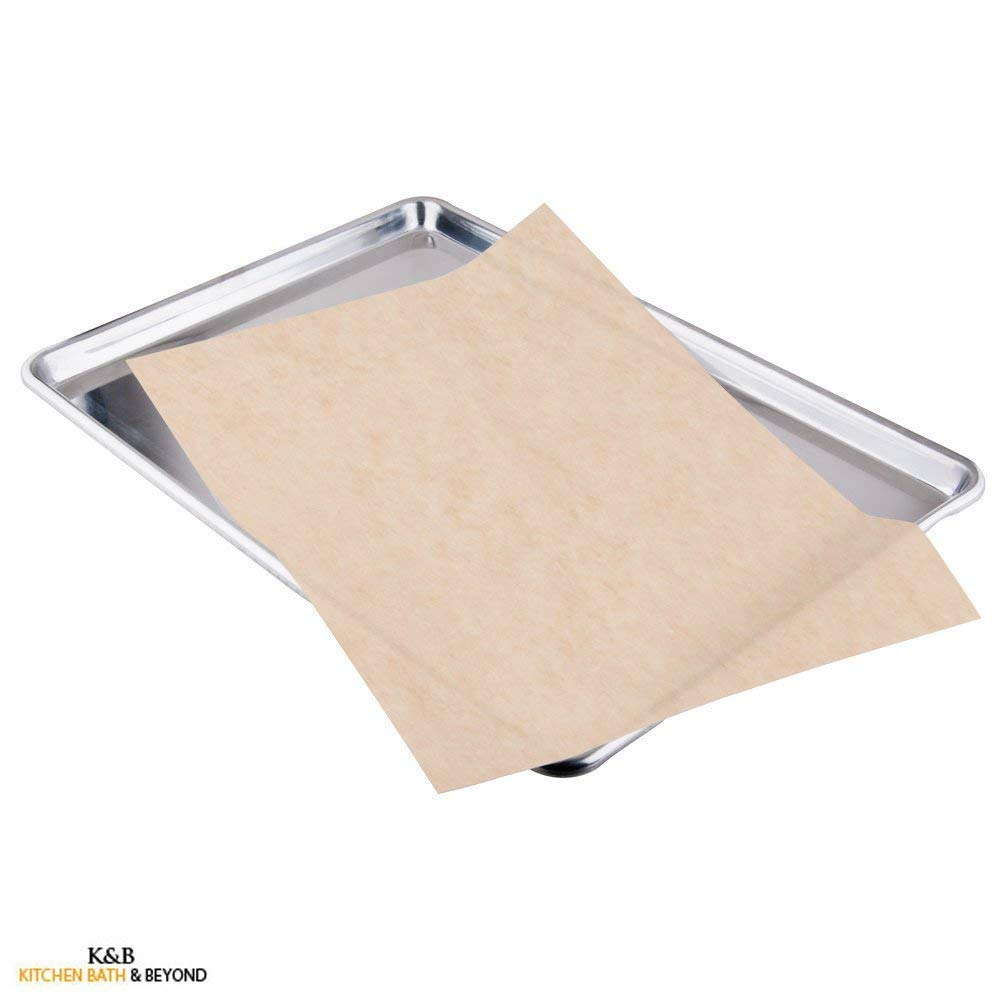Kitchen & Beyond Natural Parchment Paper Pan Liner, Full Sheet 24-inch By 16-inch, Unbleached, 50-pack