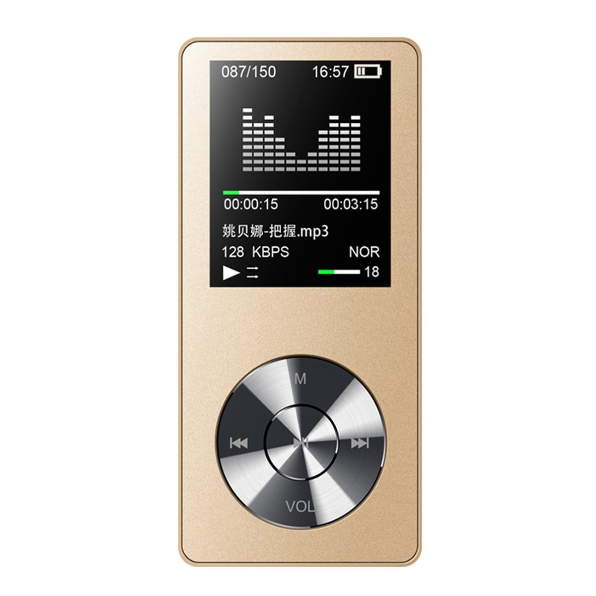 HONGYU M22 8GB Alloy Sport MP3 Music Player with Speaker and 1.8 Inch Screen FM Radio Voice Recorder 40 Hours Playback Hi-Fi quality lossless Portable Audio Player(Gold)