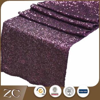 Gentil Hot Sale Cheap Elegant Hotel Purple Christmas Sequin Table Runner
