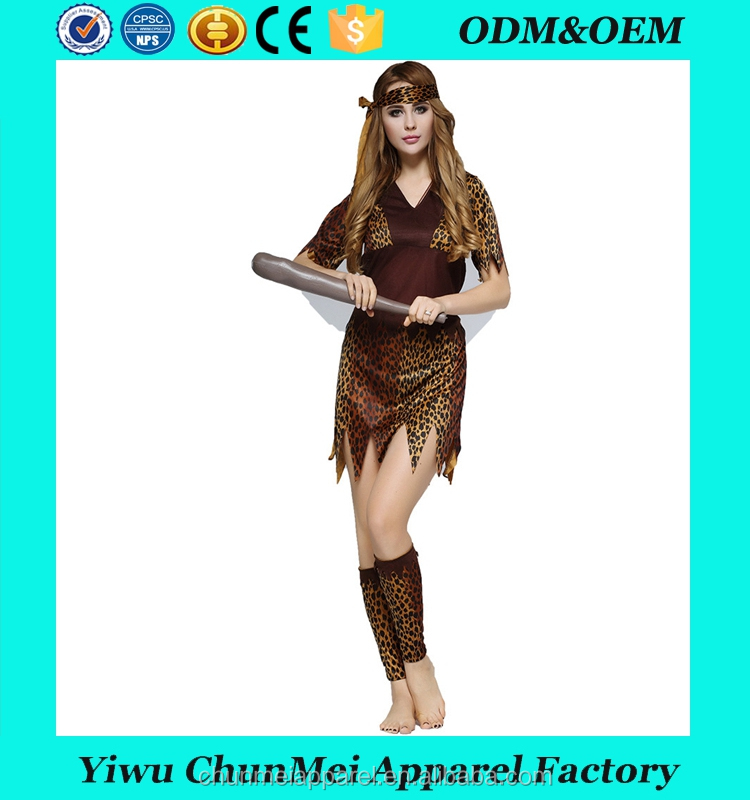 Cos Halloween costumes adult male and female indigenous people primitive Indian leopard savage couple clothing