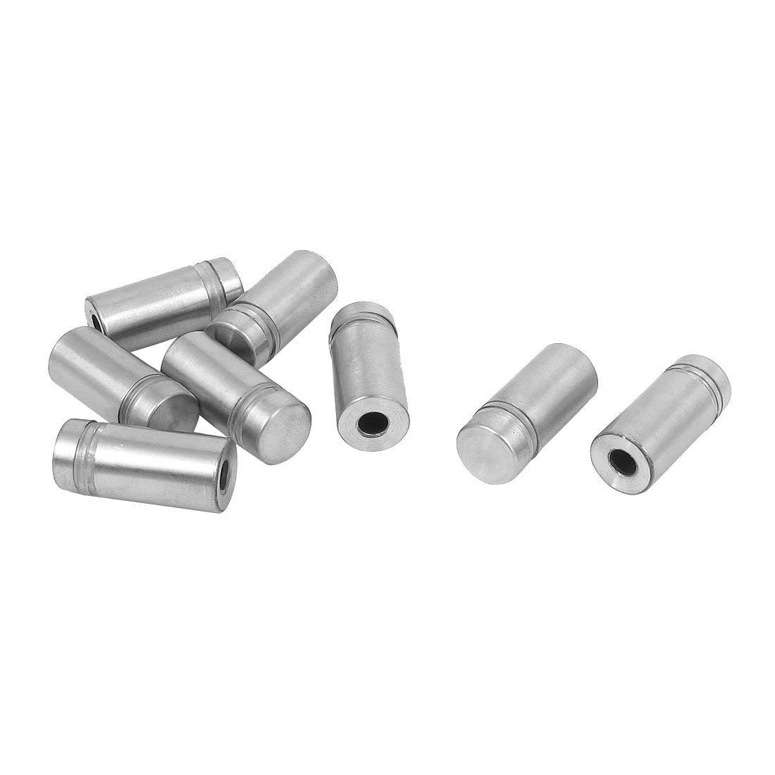 1-inch Diameter 15//16-inch Long Stainless Steel Standoff Hardware for Glass Display Silver Set of 8