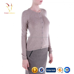 14GG Flat Knitted Cashmere Custom Fancy Cardigan Sweater For Ladies