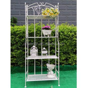 Lovely Antique White Wrought Iron Garden Flower Shelf Rack