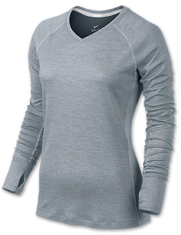 1b6ea3f39 Buy Nike Womens Dri-Fit Wool V-Neck Running Shirt-Silver in Cheap ...