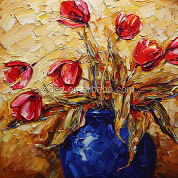 Ceramic Flower Pot Canvas Oil Painting Flower In Vases Designs Buy
