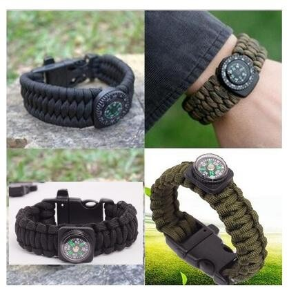 Black Paracord Survival Bracelet Rope Compass Flint Fire Starter Whistle Gear Kits