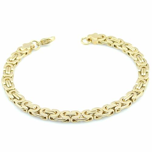 18k Gold Bracelet Byzantine Link Chain 316l Stainless