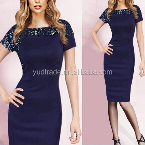 wholesale short-sleeved sequins round collar office elegant lady pencil dress slim party dress Celebrity Inspired Dress
