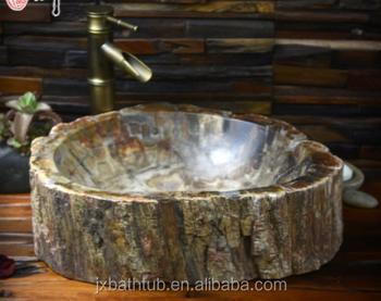 Natutral fossiele hout steen badkamer wastafel wastafel steen
