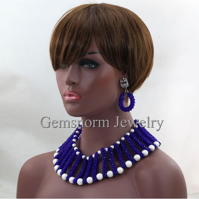 wholesale 2016 new design unique royal blue african crystal beads jewelry nigerian wedding bridal necklace jewellery sets