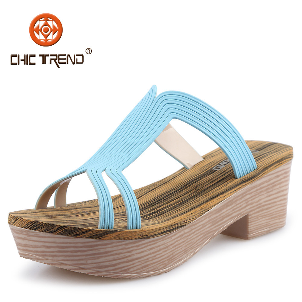2015 Lady Plastic Artificial Wood Wedges Sandal Shoes Women Momery EVA Insole Slipper shoes Fashion melissa shoes for women