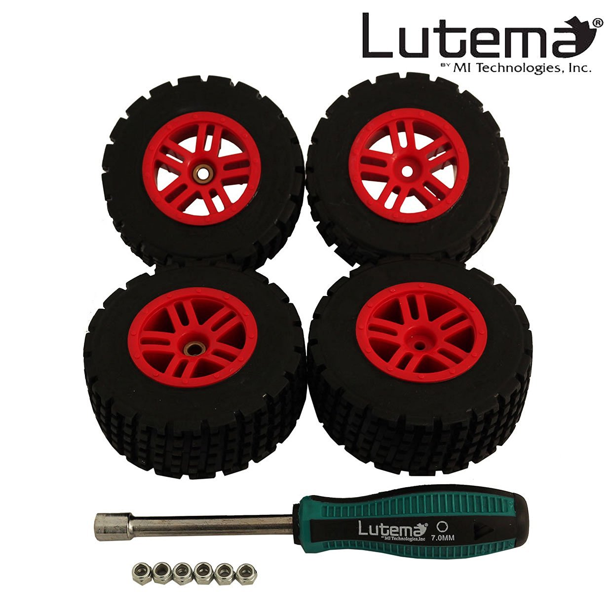 Lutema Hyp-R-Baja 2.4Ghz Baja King Complete Set of Color Wheels With Tires - Red