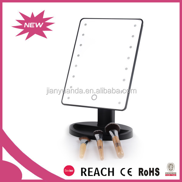 Rectangular Modern Dressing Table Mirrors With Light Bulbs / Cute Lighted Dressing  Table Top Mirrors