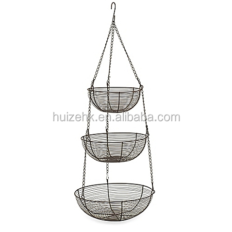 Wire fruit basket/3-tier hanging fruit basket/metal wire baskets for food