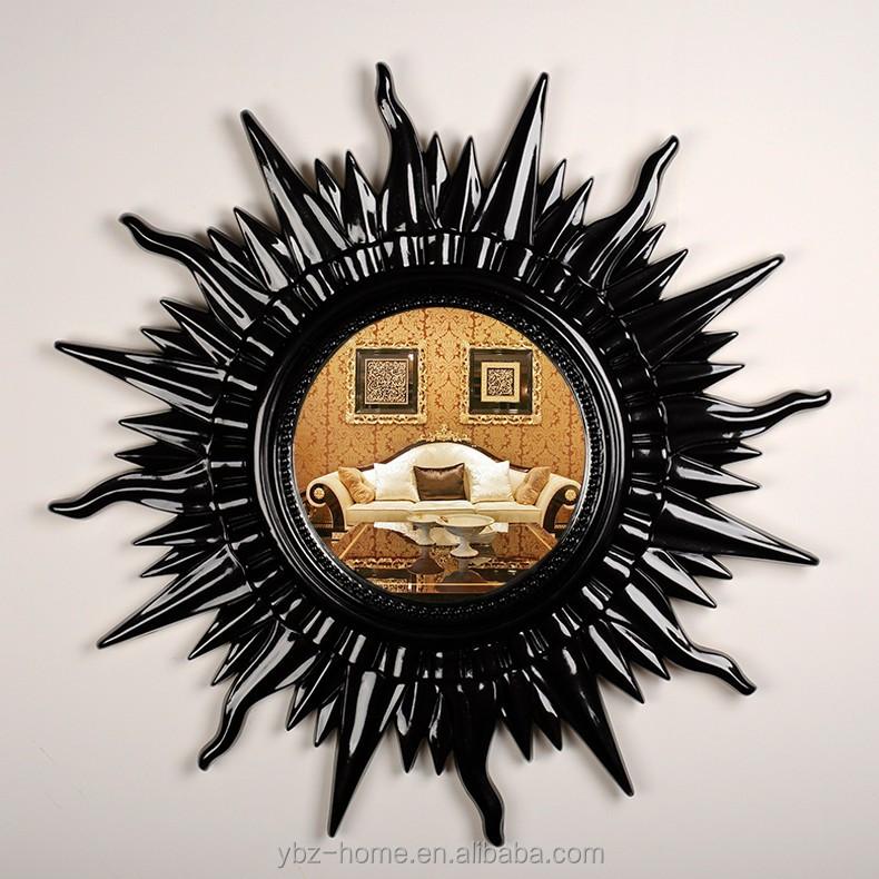 fashional sol forma negro espejo de pared grande