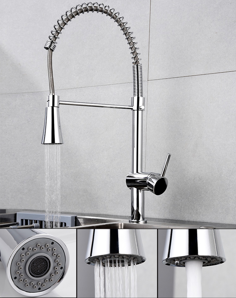 Kitchen Sink Chrome Single Handle Mixer Tap Swivel Pull