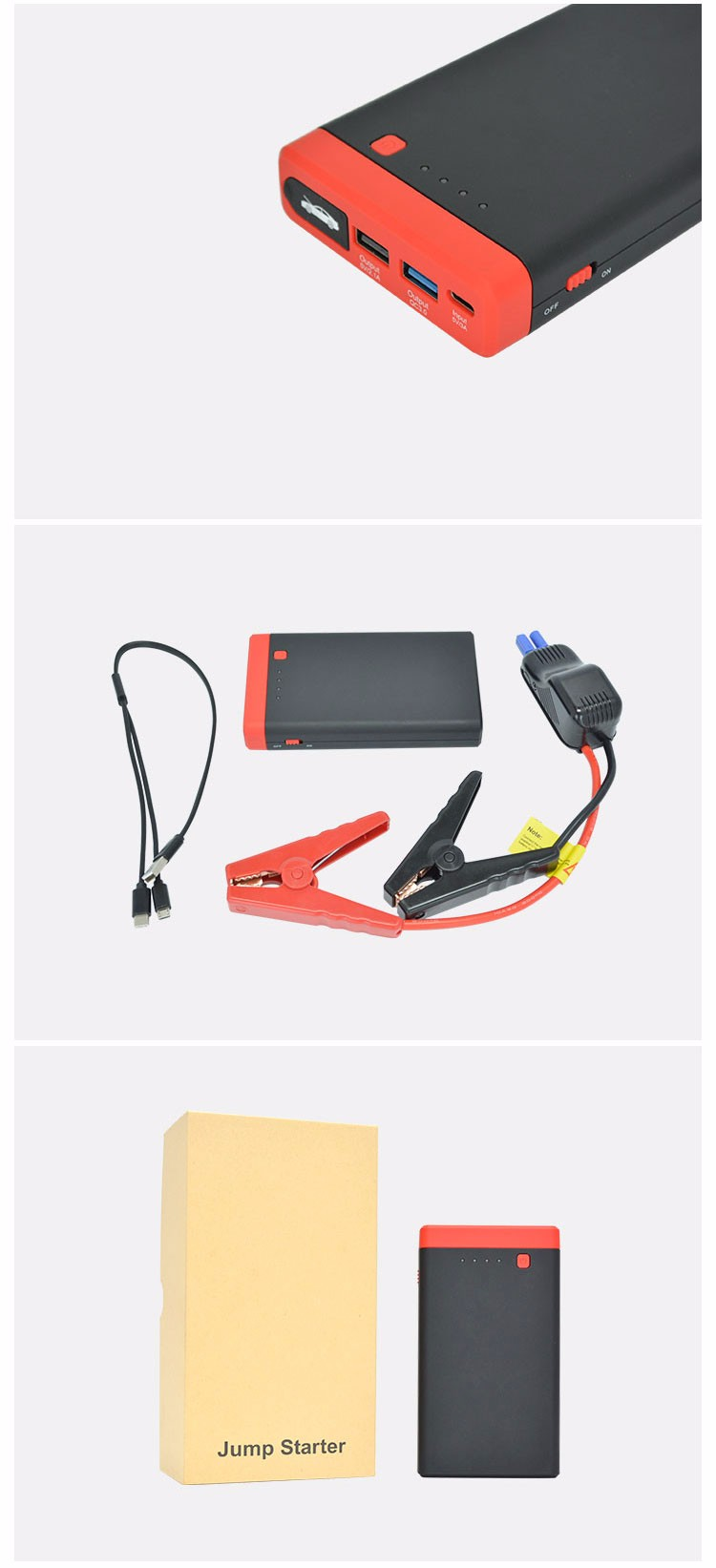 Newest 12V portable battery 12000mah jump starter with usb c type connector