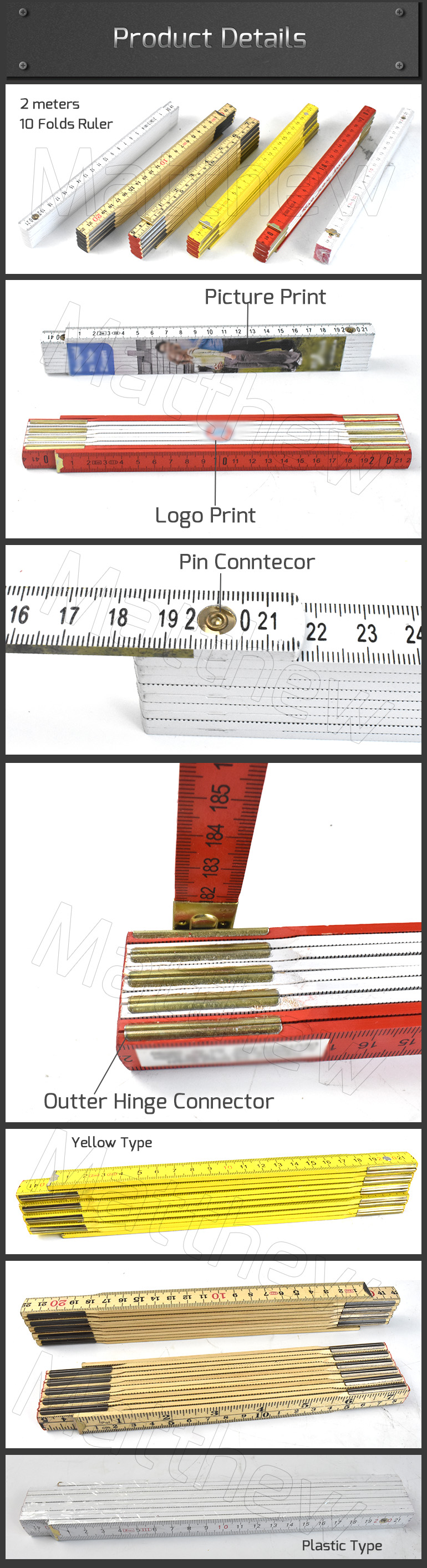 Imperial Metallic Wooden Plastic Folded Ruler for Woodworking