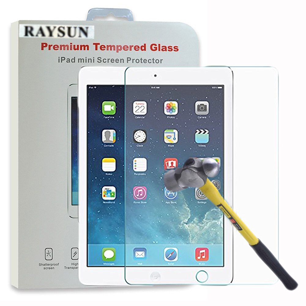 Raysun® iPad Mini 3 iPad Mini 2 iPad Mini Premium Ballistic Tempered Glass Screen Protector - 0.33mm Made of Real Glass