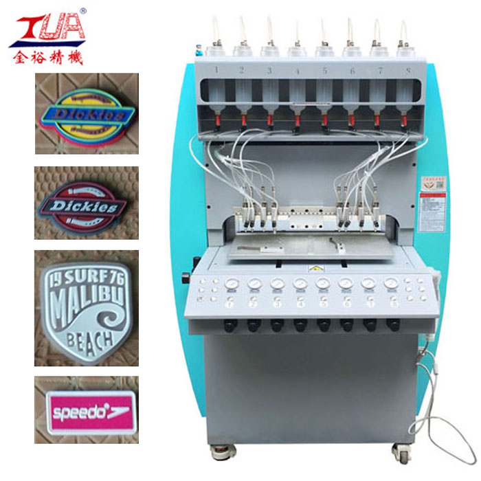 Dongguan pvc garment logo dropping inject making machine